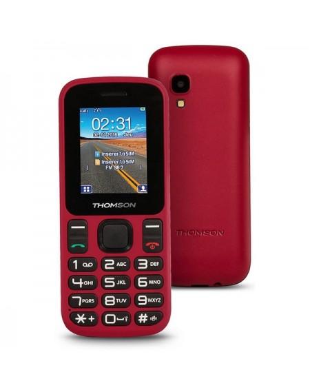 """Téléphone portable pour personnes âgées Thomson TLINK T12 1,77"""" Bluetooth VGA FM Rouge"""