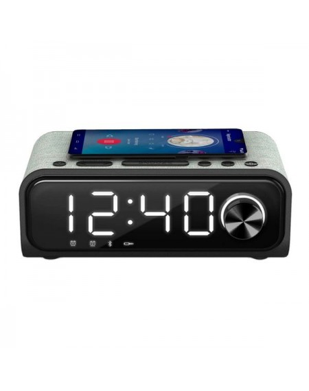 Radio-réveil avec Chargeur sans fil Energy Sistem Speaker 4 Bluetooth 5.0 10W Noir Argenté