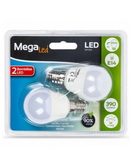 Ampoule LED Sphérique MegaLed P45-5 5W E14 4000K 390 lm Lumière blanche (2 Pcs)