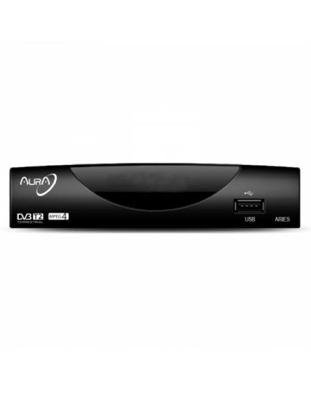 Récepteur TNT Aura ARIES T2 HDMI USB 2.0 Noir