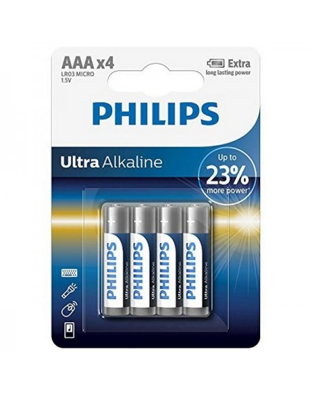 Piles Alcalines Philips LR03 AAA LR03 (4 pcs)