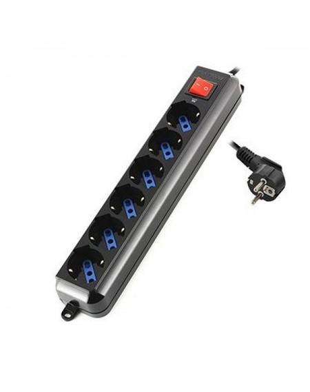Multiprise 6 Prises avec Interrupteur Ewent EW3924 Schuko Noir